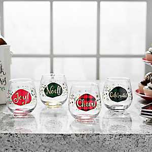 Christmas Holly Stemless Wine Glasses, Set of 4