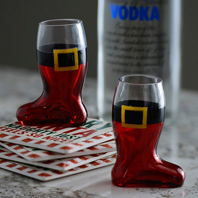 Santa's Boot Shot Glasses, Set of 2