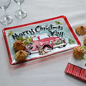 Merry Christmas Y'all Glass Platter