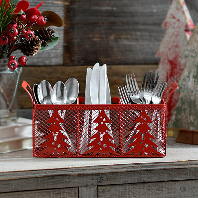 Red Christmas Tree Kitchen Utensil Caddy