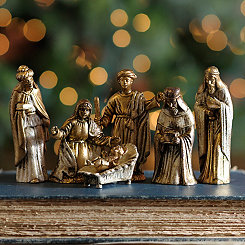 Miniature Gold Nativity Scene, Set of 6