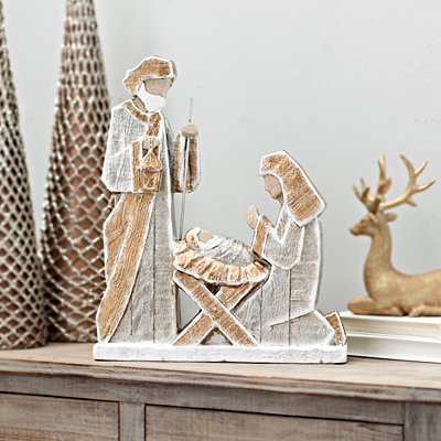 Distressed Gold and Gray Holy Family Statue