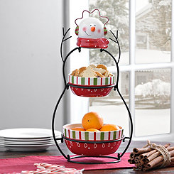 2-Tier Snowman Serving Set