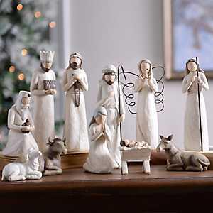 Cream Full Nativity Scene, Set of 11