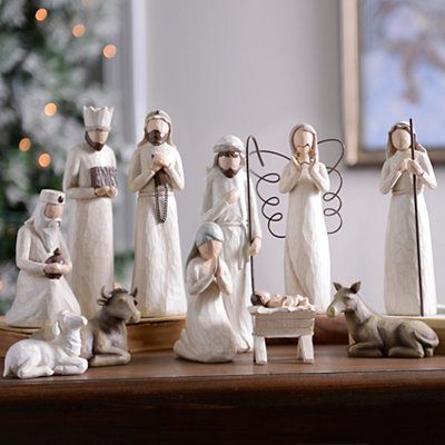 Cream Full Nativity Scene, Set of 11