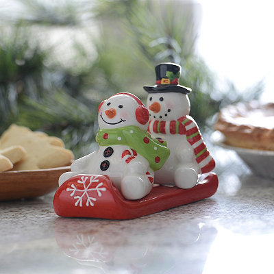 3-pc. Sled Snowman Salt and Pepper Shaker Set
