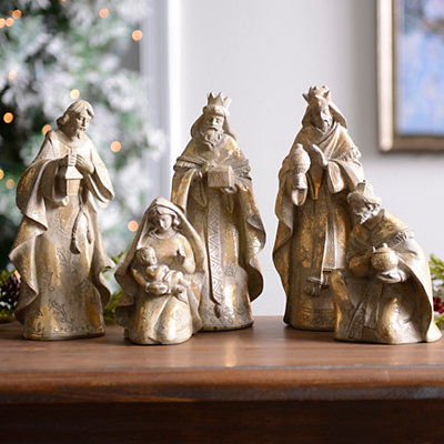 Wood Tone Nativity Scene, Set of 5