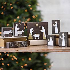 Natural Wood Block Nativity Scene, Set of 7