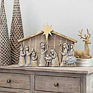 Carved Nativity Scene With Creche