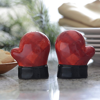 Red Plaid Mittens Salt and Pepper Shaker Set
