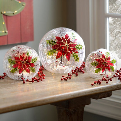 Pre-Lit Poinsettia Orbs, Set of 3
