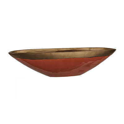 Glazed Red Metallic Ceramic Bowl