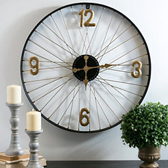Black Metal Bicycle Wheel Wall Clock