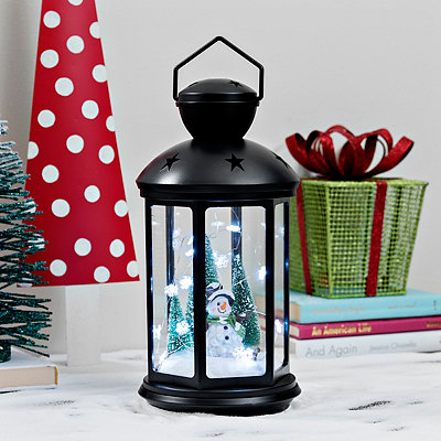 Pre-Lit White Snowman Lantern