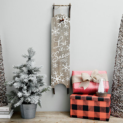 Pre-Lit Let it Snow Hanging Sled