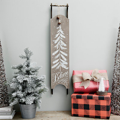 Pre-Lit Believe Hanging Sled