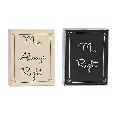 Mr. and Mrs. Always Right Word Blocks, Set of 2