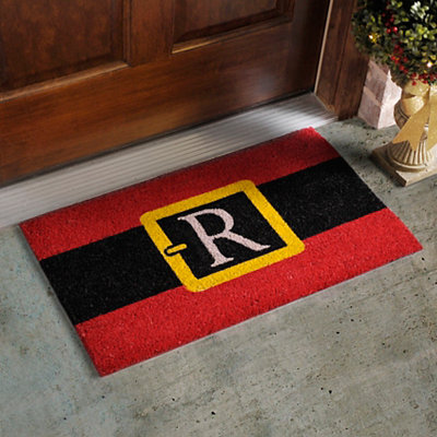 Monogram R Santa Belt Doormat