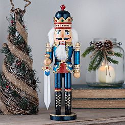 Blue Bejeweled Nutcracker Statue