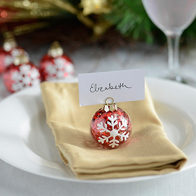 Snowflake Ornament Place Card Holders, Set of 4