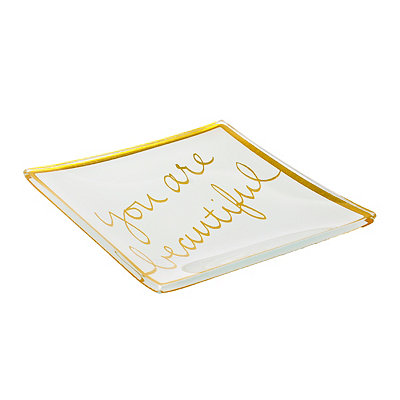 You Are Beautiful Gold Trinket Tray