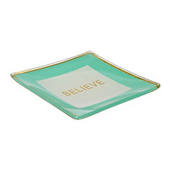 Believe Turquoise Trinket Tray