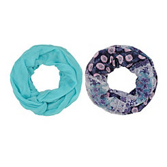 2-pc Blue Boho Floral Loop Scarf