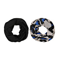 2-pc Blue Leopard Loop Scarf