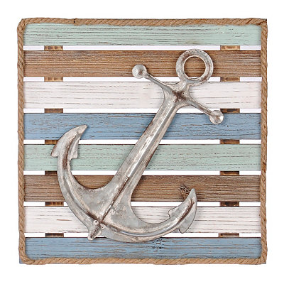 Silver Anchor Wood Plank Plaque
