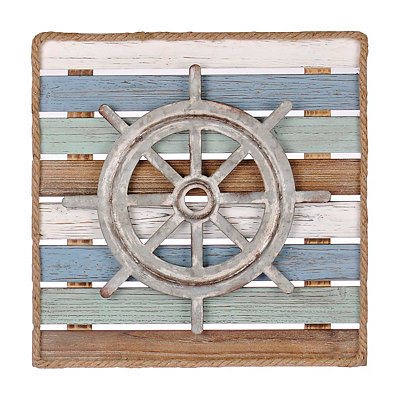 Silver Ship Wheel Wood Plank Plaque