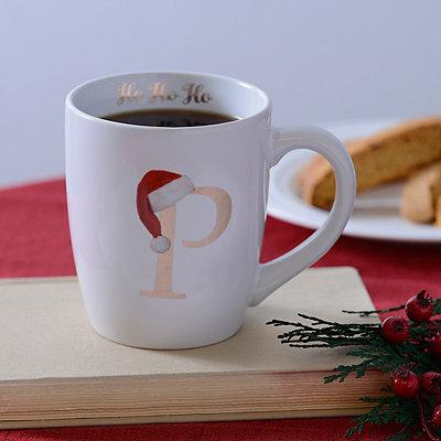 Santa Hat Monogram P Mug