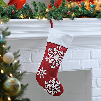 Red and White Snowflake Embroidered Stocking