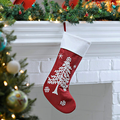 Red and White Christmas Tree Embroidered Stocking