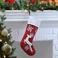 Red and White Reindeer Embroidered Stocking