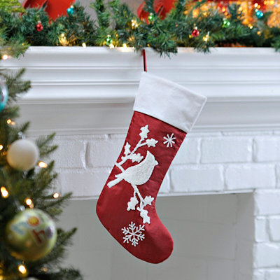 Red and White Cardinal Embroidered Stocking