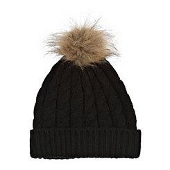 Black Knit Hat with Faux Fur Pom