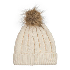 White Knit Hat with Faux Fur Pom