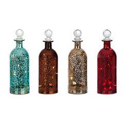 Small Sparklin Lights Mercury Glass Bottles
