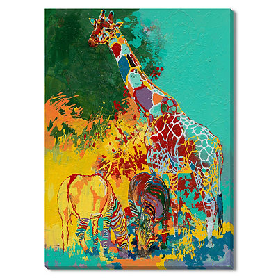Two Zebras and a Giraffe Canvas Gallery Wrap