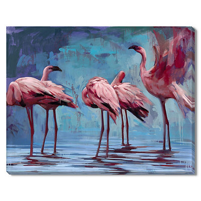 Flamingos Gather Canvas Gallery Wrap