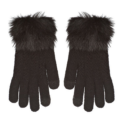 Black Textured Touch Glove with Faux Fur Cuff