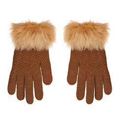 Camel Textured Touch Glove with Faux Fur Cuff