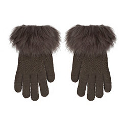 Gray Textured Touch Glove with Faux Fur Cuff