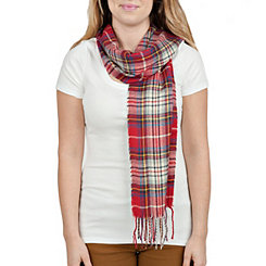 Supersoft Red Plaid Scarf