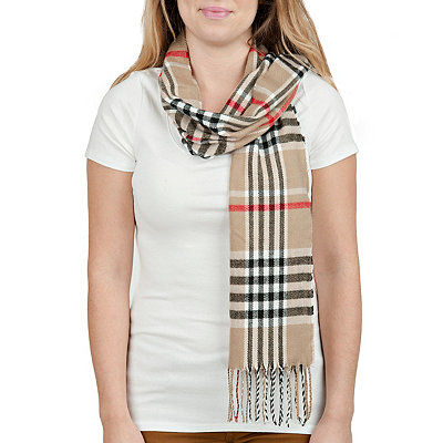 Supersoft Taupe Plaid Scarf