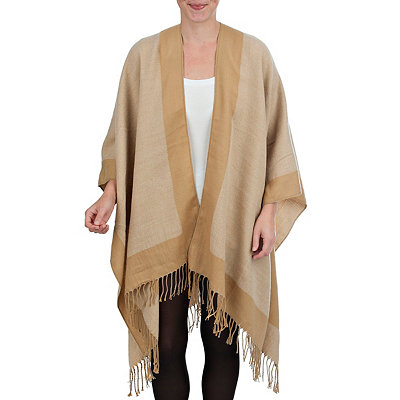 Tan Reversible Ruana Wrap