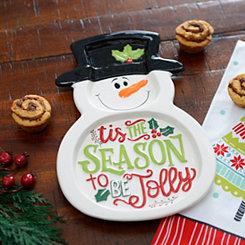 Tis The Season Snowman Platter