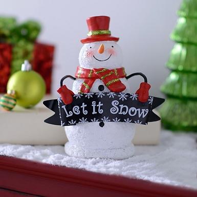 let it snow snowman statue - Snowman Christmas Decorations