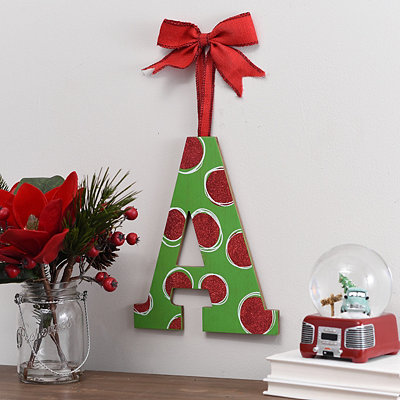 Christmas Polka Dot Monogram A Wooden Plaque