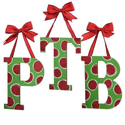 Christmas Polka Dot Monogram Wooden Plaques